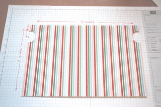 You will need two pieces 7 inches by 11 inches. I used the Stampin' Up Specialty Designer Series Paper Candy Cane Christmas (#120809) from the Holiday Mini